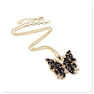 Black & Goldtone Butterfly Pendant Necklace